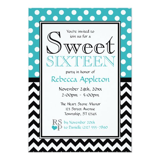 Polka Dot Turquoise & Chevron Sweet Sixteen Card