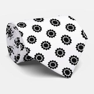 Polka Dot Twelve Point Star Black on White Tie
