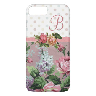Polka Dot Vintage Floral Rose Monogram iPhone 8 Plus/7 Plus Case