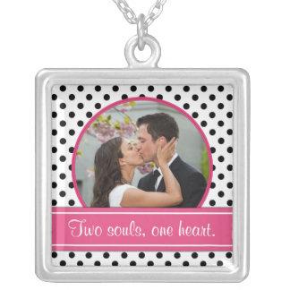 Polka Dot Wedding Photo Template Necklace