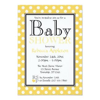 Polka Dot Yellow Baby Shower Invitations