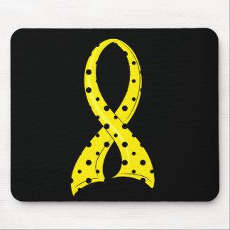 Polka Dot Yellow Ribbon Bladder Cancer Mouse Pad