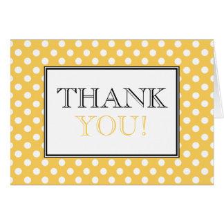 Polka Dot Yellow & White Thank You Card
