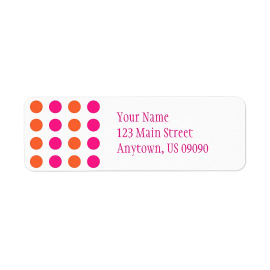 Polka Dots Address Label (Pink / Orange)