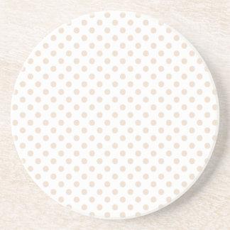 Polka Dots - Almond on White Coaster