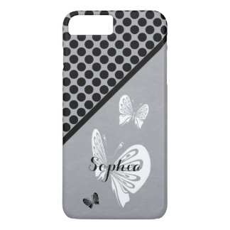 Polka Dots and Butterflies on Gray iPhone 8 Plus/7 Plus Case