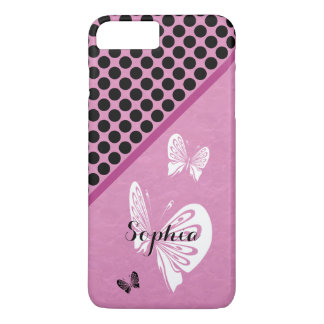 Polka Dots and Butterflies on Pink iPhone 8 Plus/7 Plus Case