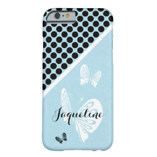 Polka Dots and Butterflies on Teal Barely There iPhone 6 Case