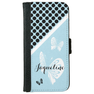 Polka Dots and Butterflies on Teal iPhone 6 Wallet Case