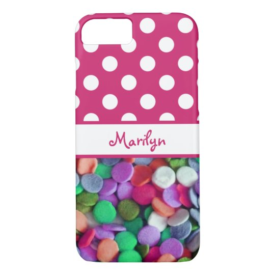 Polka Dots and Candy Monogrammed iPhone 8/7 Case