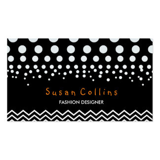 Polka Dots and Chevron Black White Fashion Elegant Pack Of Standard Business Cards