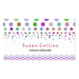 Polka Dots and Chevron Clean Fashion Elegant Business Card Template