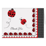 Polka Dots and Cute Ladybugs Thank You Note Card