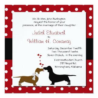 Polka Dots and Dachshunds Wedding Invitation