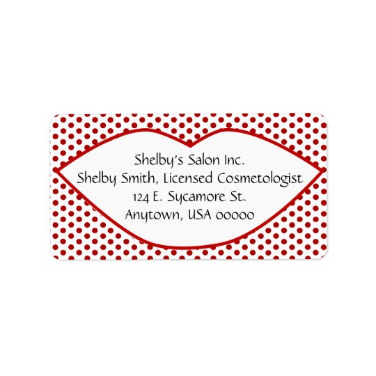 Polka Dots and Lips Address Labels
