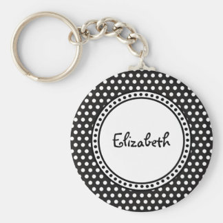 Polka Dots and Name with Custom Color Background Basic Round Button Key Ring
