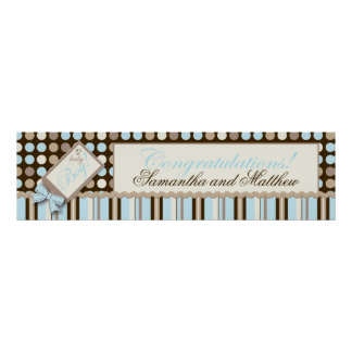 Polka Dots and Stripes Baby Shower Banner Boy Poster