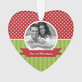 Polka Dots and Stripes Custom Photo Christmas Ornament