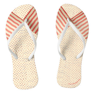 Polka Dots and Stripes Faded Vintage Look Flip Flops