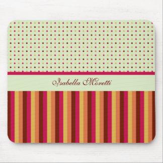 Polka Dots and Stripes Pattern Mousepad