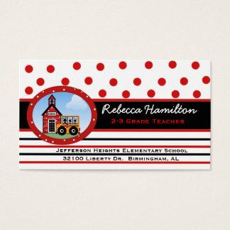 Polka Dots and Stripes Teacher's Business Card
