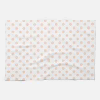 Polka Dots - Apricot on White Tea Towel