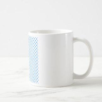 Polka Dots - Azure on White Coffee Mugs