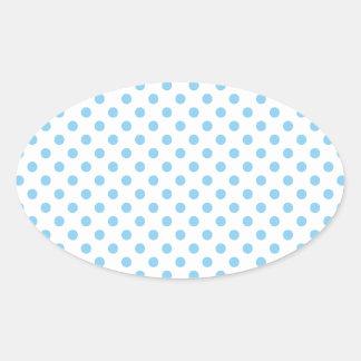 Polka Dots - Baby Blue on White Oval Sticker