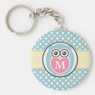 Polka Dots Baby Owl Cartoon Monogram Keychain