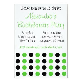 "Polka Dots Bachelorette Invite Black / Lime Green 5"" X 7"" Invitation Card"