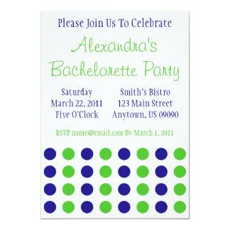 "Polka Dots Bachelorette Invite (Blue / Lime Green) 5"" X 7"" Invitation Card"