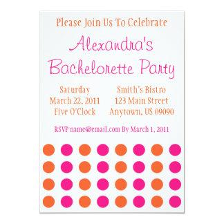 """Polka Dots Bachelorette Invite (Hot Pink / Orange) 5"""" X 7"""" Invitation Card"""