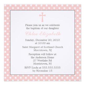 Polka Dots Baptism Invitations