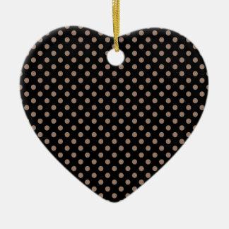 Polka Dots - Beaver on Black Ceramic Heart Decoration