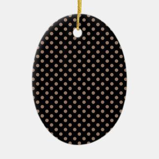 Polka Dots - Beaver on Black Ceramic Oval Decoration