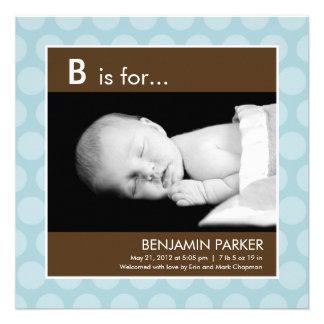 Polka Dots Birth Announcement Blue Personalized Invitation