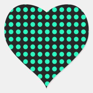 Polka dots black background and light blue dots heart sticker
