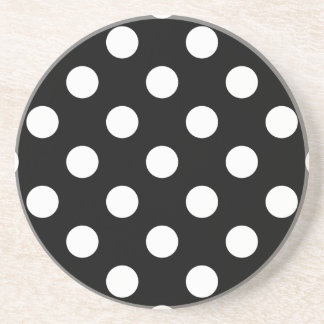 Polka Dots Black Beverage Coaster