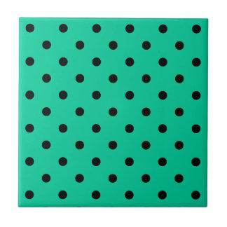 Polka Dots - Black on Caribbean Green Small Square Tile