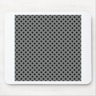 Polka Dots - Black on Dark Gray Mouse Pad
