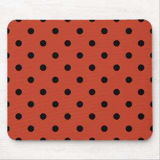 Polka Dots - Black on Dark Pastel Red Mouse Pad