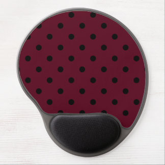 Polka Dots - Black on Dark Scarlet Gel Mouse Pad