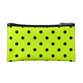 Polka Dots - Black on Fluorescent Yellow Cosmetic Bag
