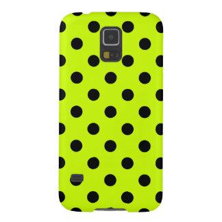 Polka Dots - Black on Fluorescent Yellow Galaxy S5 Case