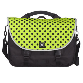 Polka Dots - Black on Fluorescent Yellow Bag For Laptop