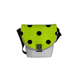 Polka Dots - Black on Fluorescent Yellow Messenger Bags