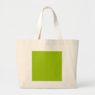 Polka Dots - Black on Fluorescent Yellow Tote Bag