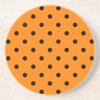Polka Dots - Black on Orange Sandstone Coaster