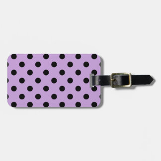 Polka Dots - Black on Wisteria Luggage Tag