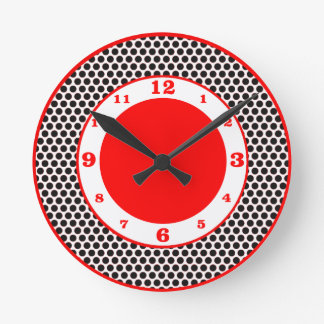 Polka Dots- Black, White & Red Round Clock